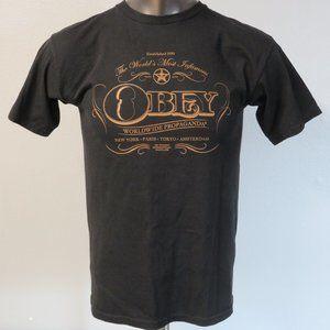 OBEY T Shirt Size M Cotton Black Brown
